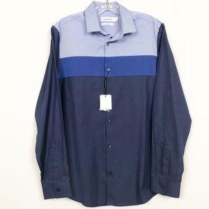 NWT Calvin Klein Blue Colorblock Button Down Shirt